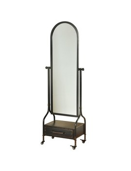 "72.4"" Cheval With Lower Storage Drawer Blackened Finish Wall Mirror Gray   Style Craft by Style Craft"