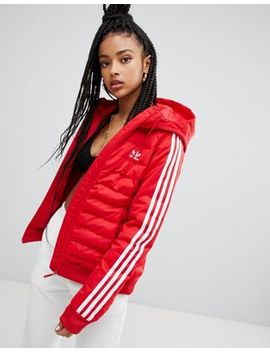 Adidas Originals Three Stripe Padded Jacket In Red by Adidas