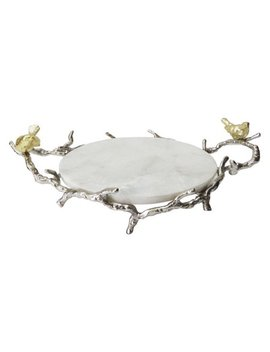 A And B Home Marble Round Tray With Branch Design Handles And Stand by A And B Home