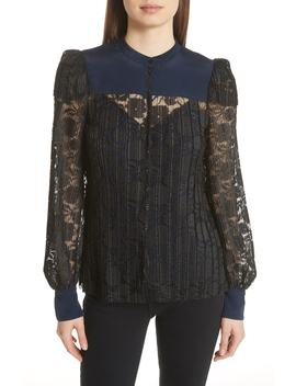 Contrast Detail Silk Lace Blouse by See By ChloÉ