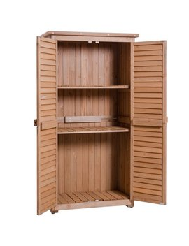 "Gymax Outdoor 63"" Tall Garden Storage Shed Wooden Tools Shutter Fir Wood Lockers by Gymax"