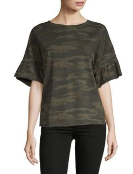 Camo Print Ruffle Bell Sleeve Top by Sanctuary