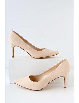 Cassidy Nude Suede Pumps by Lulus