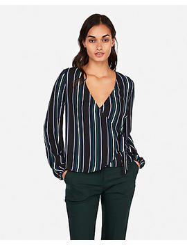 Stripe Kimono Sleeve Surplice Wrap Top by Express
