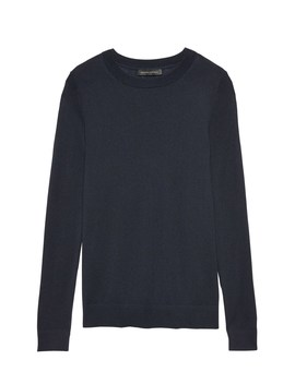 Silk Cashmere Crew Neck Sweater by Banana Repbulic