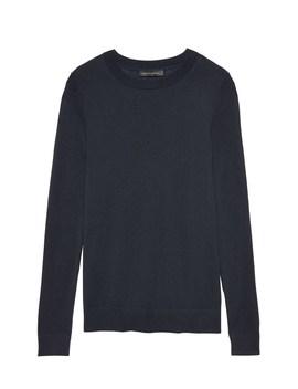 silk-cashmere-crew-neck-sweater by banana-repbulic