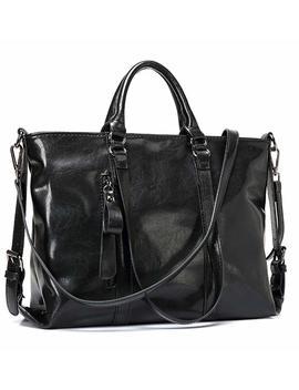 Iygo Leather Tote Bag For Women, Leather Top Handle Shoulder Hand Bag Tote Bag Waterproof Crossbody Bag by Iygo