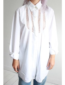 Vintage 80s Crisp White Cut Out Panel Shirt by Betty Barclay