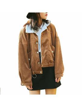 Youmu Vintage Women Fleece Lined Curduroy Jacket Loose Casual Sherpa Overcoat by Youmu