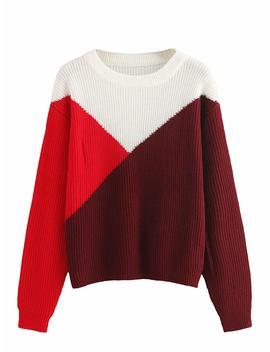 Milumia Women's Drop Shoulder Color Block Textured Jumper Casual Sweater by Milumia