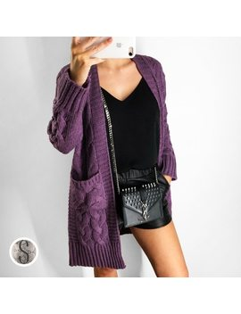 Winter Lavender Thickening Long Knitted Cardigan Cable Sweater Women Korean Style Loose Large Fall Cardigan. by Bonjean
