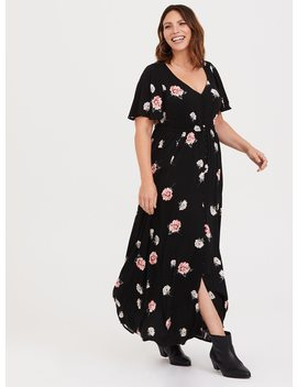 Black Floral Challis Maxi Dress by Torrid