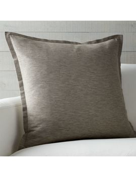 "Linden Mushroom Grey 23"" Pillow With Feather Down Insert by Crate&Barrel"