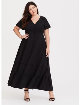 Black Button Front Challis Maxi Dress by Torrid