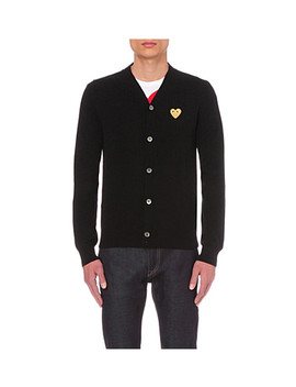 Play Gold Heart Wool Cardigan by Comme Des Garcons Play