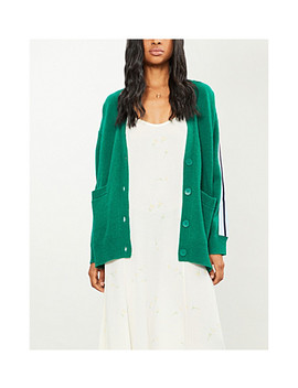 Striped Sleeves Wool Blend Cardigan by Sandro