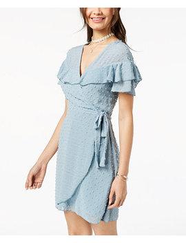 Juniors' Ruffled Clip Dot Faux Wrap Dress by Teeze Me