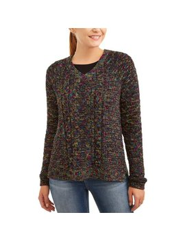 Women's V Neck Boucle Sweater by Time And Tru
