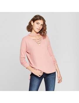 Women's Long Sleeve Turtleneck Cross Front Hacci Sweater   Love @ First Sight (Juniors') Ash Rose by Love @ First Sight