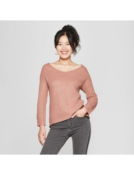 womens-long-sleeve-lace-up-back-sweater---love-@-first-sight-(juniors)-ash-rose by love-@-first-sight