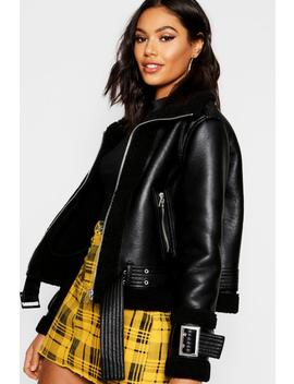 Borg Trim Belted Flying Jacket by Boohoo
