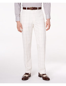 Closeout! Men's Classic Fit Stretch White/Gray Windowpane Suit Pants by Sean John