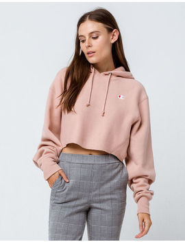 Champion Reverse Weave Light Pink Womens Crop Hoodie by Champion