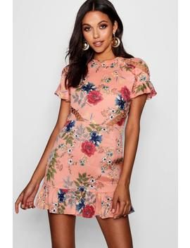Floral Lace Up Detail Mini Dress by Boohoo