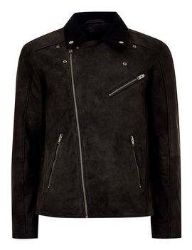 Selected Homme Black Leather Biker Jacket by Topman