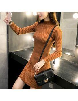 Renara   Mock Neck Long Sleeve Rib Knit Bodycon Dress by Renara