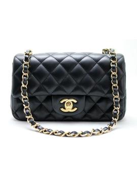 Authenticated!<Wbr>! Chanel Mini Rectangular Black Lambskin Flap Bag Light Gh Mint! by Chanel