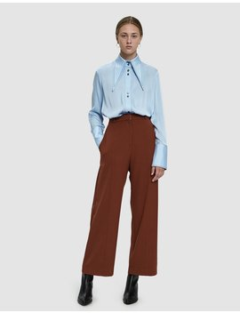 Front Seam Wide Leg Pants In Rust by Mijeong Park