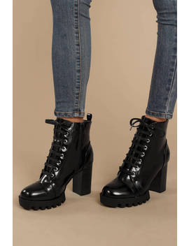 Glenna Black Lace Up Combat Booties by Tobi