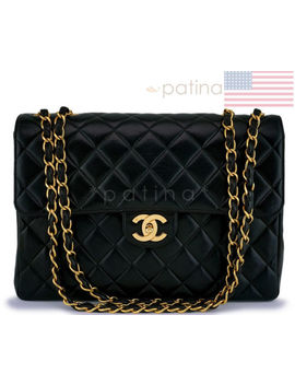 Chanel Black Lambskin Classic Jumbo Flap Bag 24k Ghw 62993 by Chanel