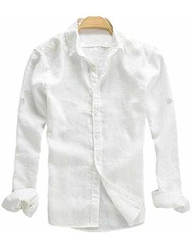 Youhan Men's Long Sleeve Fitted Linen Shirt by Youhan