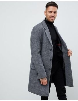River Island Textured Overcoat In Gray by River Island