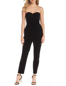 Hayden Strapless Velvet Jumpsuit by Adelyn Rae
