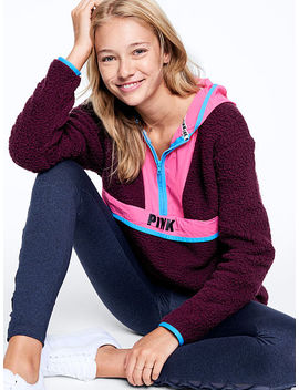 Nylon Pieced Sherpa Pullover Half Zip by Victoria's Secret