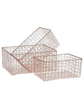 Copper Storage Basket Medium Sized Wire Mesh Metal Crate Vintage Chic Industrial Style Kitchen Utensils Caddy Bathroom Toiletries Trug Vegetable Hamper by Homes On Trend