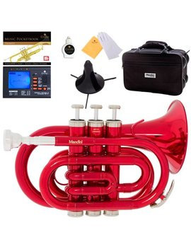 Mendini By Cecilio Red Bb Pocket Trumpet W/1 Year Warranty, Tuner, Stand, Pocketbook And Deluxe Case, Mpt Rl by Mendini By Cecilio