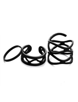 3 Ring Set Black Metal Ring Adjustable Open Wide Mid Finger Knuckle Rings Thumb by Unbranded