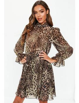 Brown Leopard High Neck Tie Waist Smock Dress by Missguided