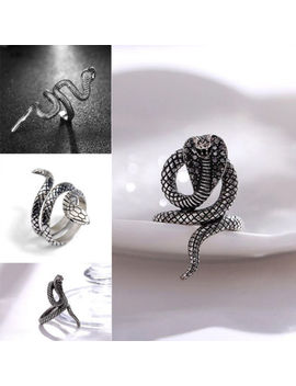 Vintage Men Stainless Steel Gothic Punk Silver Cobra Snake Ring Fashion Jewelry by Unbranded