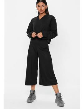 Black Ribbed Culotte Pants by Missguided