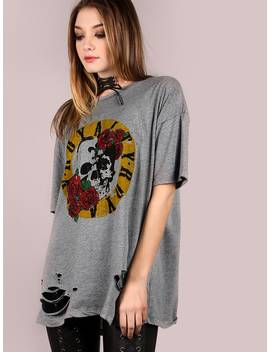 Oversized Short Sleeve Royalty Graphic Tee by Romwe