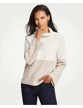Petite Cashmere Colorblock Ribbed Turtleneck Sweater by Ann Taylor
