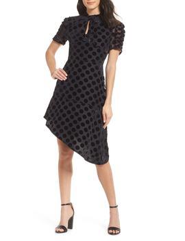 Asymmetrical Velvet Dot Dress by Chelsea28