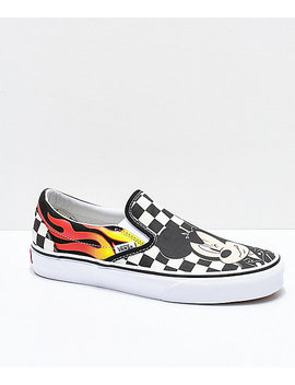 Disney By Vans Slip On Mickey & Minnie Checkerboard Flame Skate Shoes by Vans