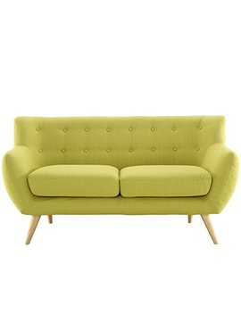 Modway Remark Mid Century Modern Loveseat With Upholstered Fabric In Wheatgrass by Modway