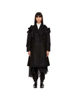 Black Wool Bows Belted Coat by Simone Rocha